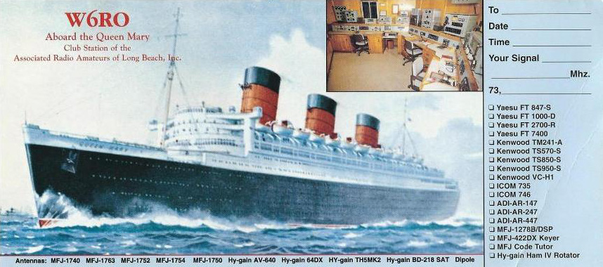 Queen Mary QSL Card from W6RO